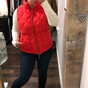 J Crew preppy red orange puffer vest with pockets